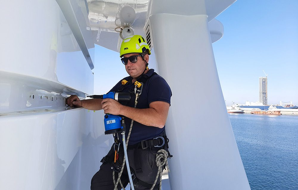 Martin Gee installing new Harken Tracks on board a yacht in Dubai